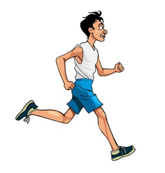 cartoon man in sportswear running side view vector image