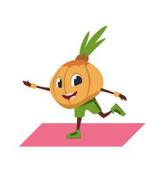 cartoon onion character doing yoga pilates and vector image