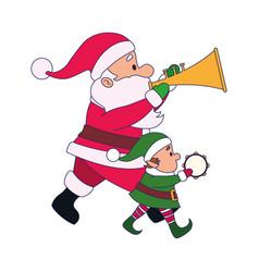 Cartoon santa claus and santas helper with musical vector