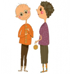 cartoonn of an older couple vector image