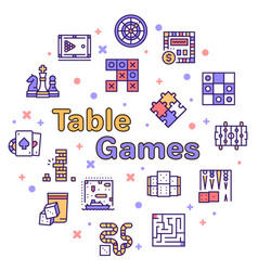color line icon round set table games vector image