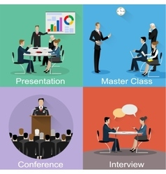 Conference banner set with business concept vector image