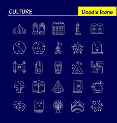 Culture hand drawn icons set for infographics vector