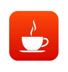 cup of hot drink icon digital red vector image