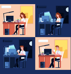 day night work late office working man woman vector image
