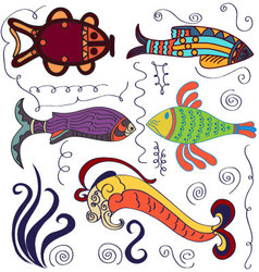 Decorative fishes vector image