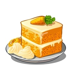Delicious slice of carrot cake on plate vector