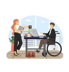 Disabled man using wheelchair working on laptop vector