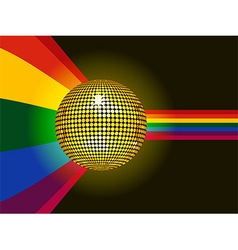 Disco ball glowing over rainbow background vector image