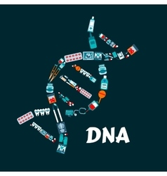 DNA helix with pharmaceutical medicine flat icons vector