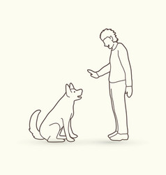 Dog training a man training a dog vector