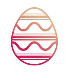 Easter egg with curved lines and horizontal vector
