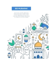 Eid Mubarak - line design brochure poster template vector image