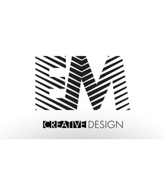Em e m lines letter design with creative elegant vector