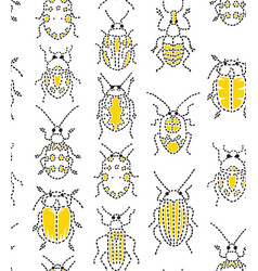 Embroidery bugs seamless pattern on white vector