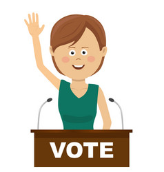 female politician makes a campaign speech vector image