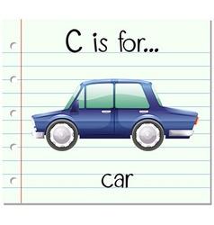 Flashcard alphabet C is for car vector
