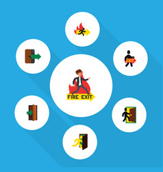 Flat icon emergency set of exit evacuation fire vector