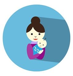 Flat mother baby vector