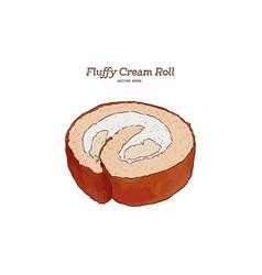 fluffy cream roll hand draw sketch vector image