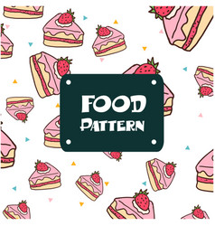 food pattern strawberry cake background ima vector image
