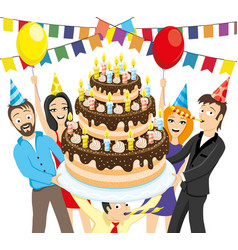 friends give a big cake with candles vector image