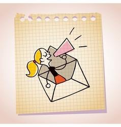 girl message loudhailer note paper cartoon sketch vector image
