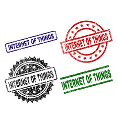 Grunge textured internet of things seal stamps vector