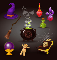 halloween party or witchcraft wizard items vector image