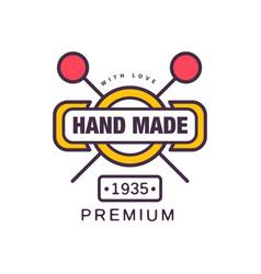 Handmade premium logo template since 1935 retro vector