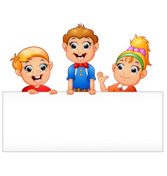 happy kids cartoon holding blank sign vector image