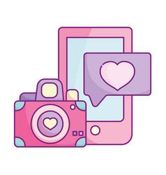 Happy valentines day smartphone camera heart love vector