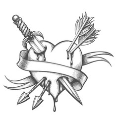 Heart pierced knife and arrows tattoo vector