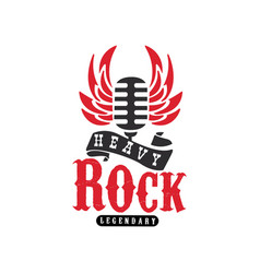 heavy rock logo emblem with vintage microphone vector image