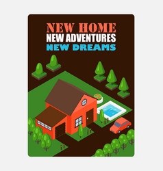 isometric house on inspirational poster vector image
