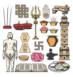 Jainism indian religion symbols jain dharma icons vector