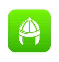 Knight helmet guard icon green vector