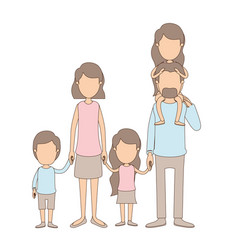 Light color caricature faceless big family parents vector
