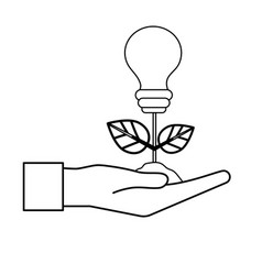 Line hand with energy bulb plant with leaves and vector
