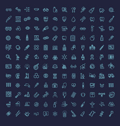 line medicine consepts icons set vector image