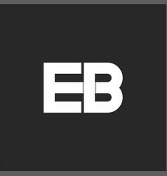 Logo eb initials monogram bold font two white vector