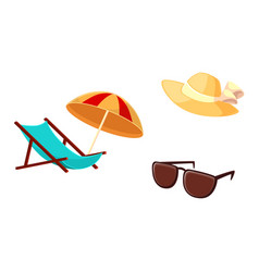 Lounge chair beach umbrella straw hat sunglasses vector