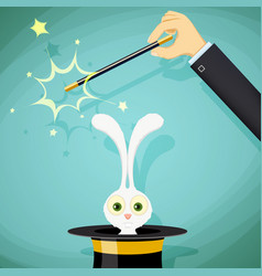 Magician with magic wand and a rabbit in a hat vector