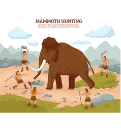 Mammoth hunting background vector