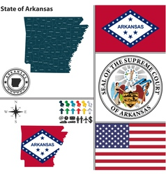 map arkansas with seal vector image