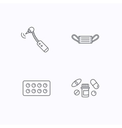 Medical mask pills and drilling tool icons vector image