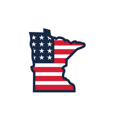 Minnesota usa map flag vector