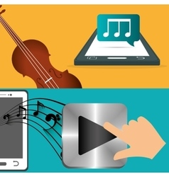 mobile music fiddle and player note banner vector image