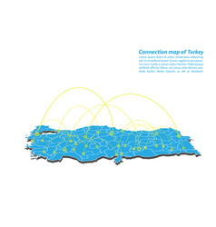 Modern of turkey map connections network design vector