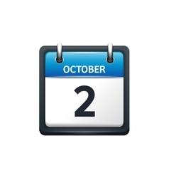 October 2 calendar icon flat vector
